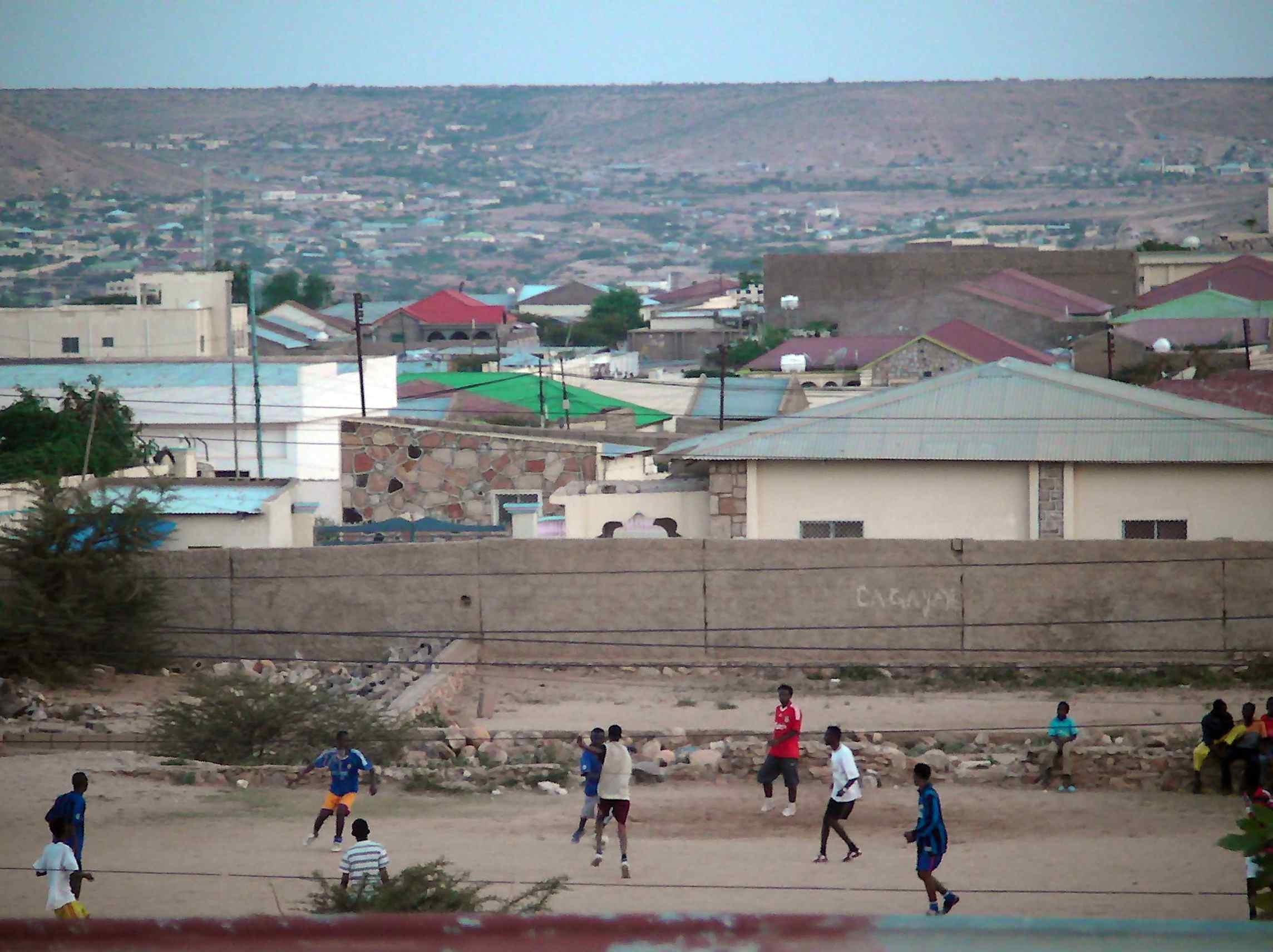 Young people playing football in a Hargeisa neighbourhood.jpg