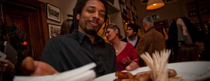 Jean Jacques serves canapés
