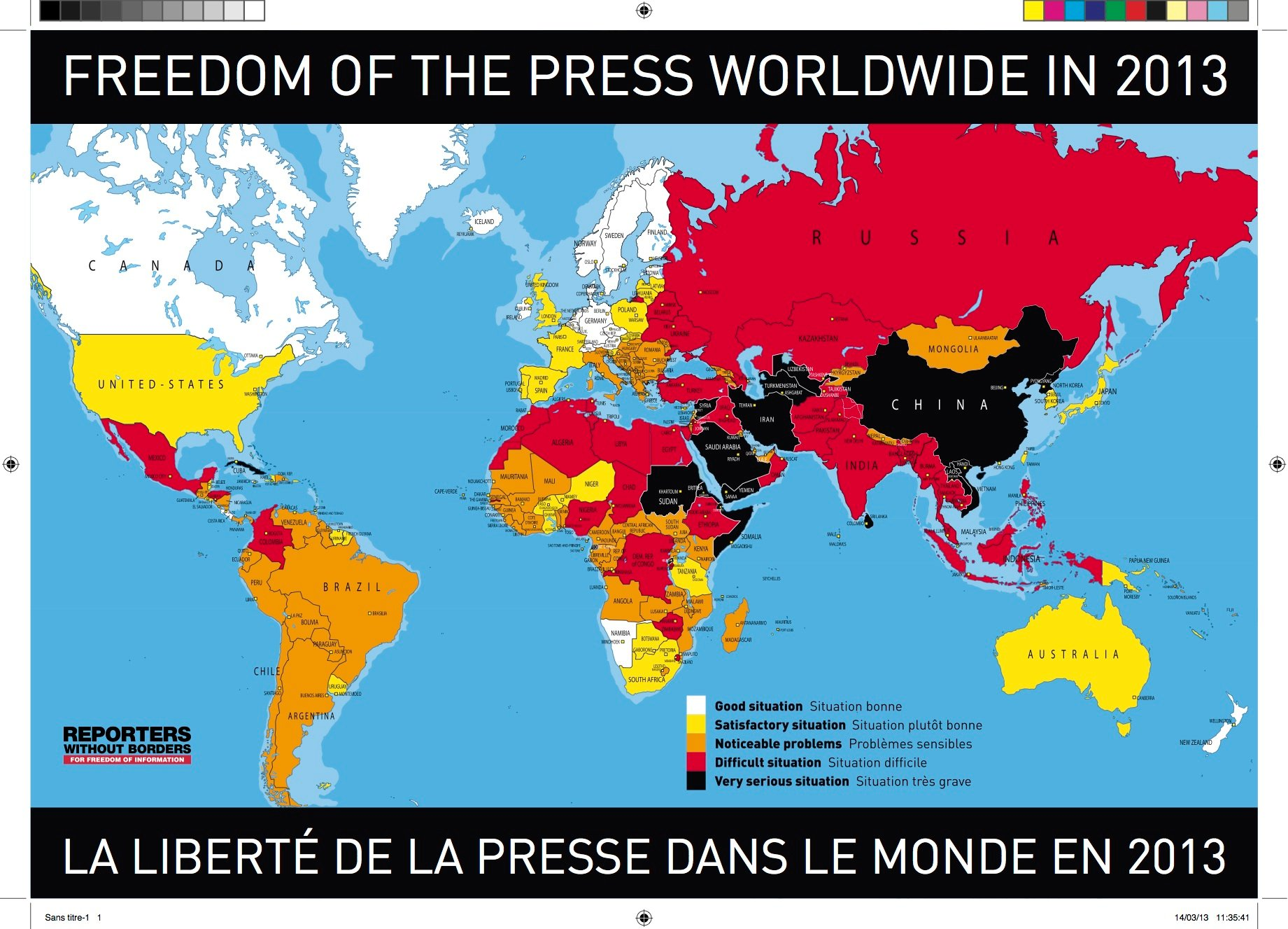 RSF WORLD PRESS FREEDOM MAP