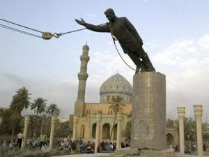 saddam hussein statue falling