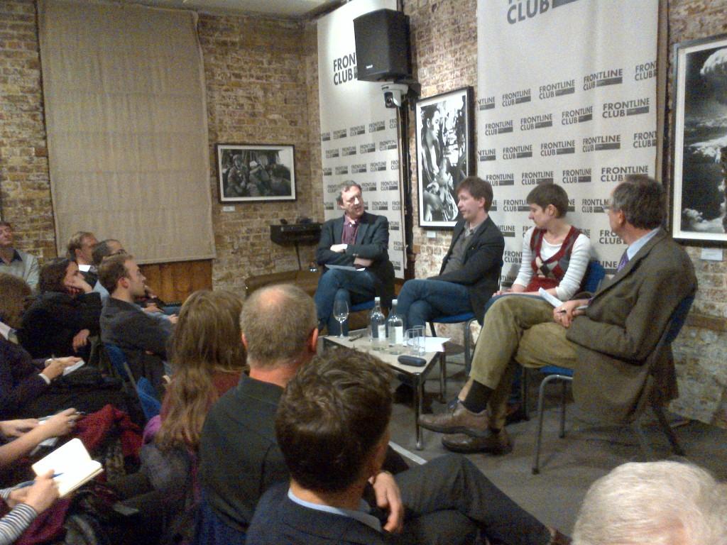 L-R: Misha Glenny, Andrei Soldatov, Irina Borogan and Edward Lucas. Photo credit: Millicent Teasdale