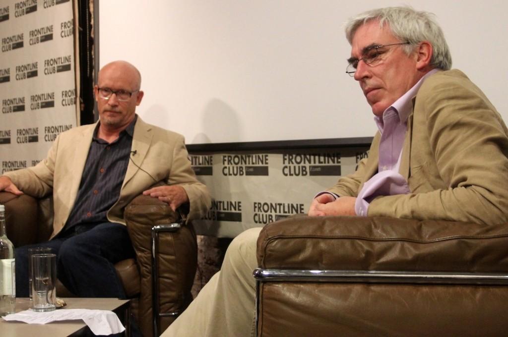 Documentary filmaker Alex Gibney and Owen Bennett Jones listen to questions from the audience. Photo: Alex Glynn