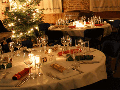 The Frontline Club Forum decorated for Christmas dinner