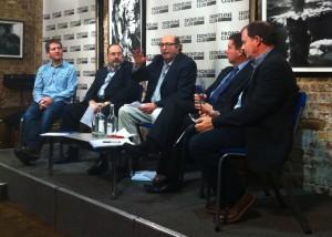The panel: Tom Hannen, Professor Robert Picard, David Goldberg, Gerry Corbett, and Richard Sambrook.