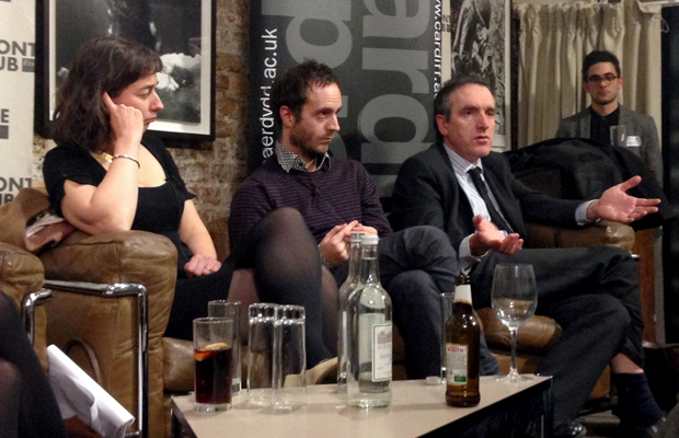 Merope Mills, Luke Lewis and Pete Picton at the Frontline Club