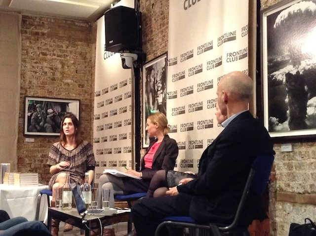 Discussing the first female correspondents. L-R: Kate Brooks, Deborah Haynes, Jane Rogoyska and Patrick Garrett.
