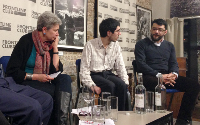 Lindsey Hilsum, Aymenn Jawad Al-Tamimi and Malik Al-Abdeh discuss ISIS and Syria at the Frontline Club