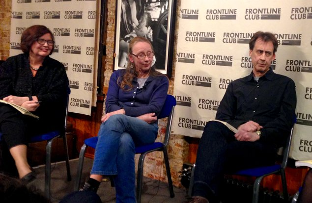 Maureen Freely, Lesley McIntyre and Andrew Williams discuss art and politics at the Frontline Club