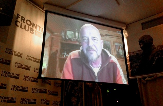 Oleg Klimov speaks via Skype at the Frontline Club