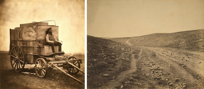 Roger Fenton's photographic van and 'The Valley of the Shadow of Death' in Crimea.