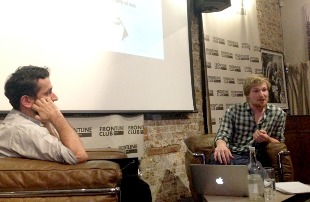 Malik Meer and George Butler discuss illustration at the Frontline Club