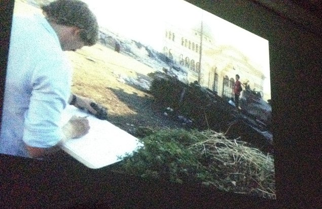 George Butler whilst drawing in Syria