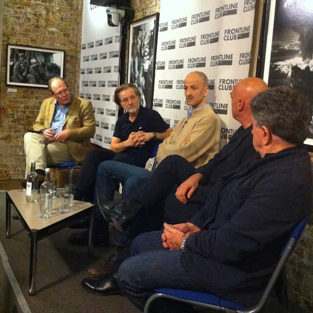 From left: Vaughan Smith, Paul Lowe,  Charif Kiwan, Remy Ourdan and Patrick Chauvel at the Frontline Club.