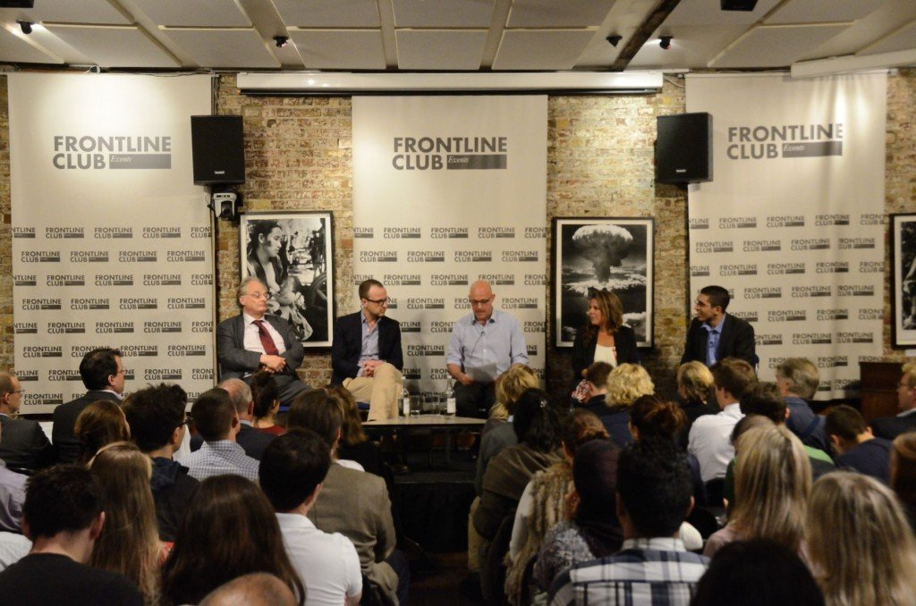 From Al-Qaeda to ISIS: terrorist tactics. Panel discussion at the Frontline Club, 24 September 2014. From L to R: Patrick Cockburn; Peter Neumann; Sam Kiley; Alia Brahimi; Aymenn Al-Tamimi. Photograph by Richard Nield