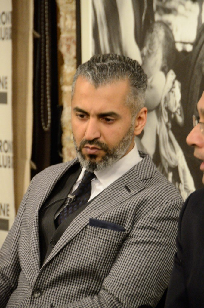 Maajid Nawaz at Frontline Club debate Je Suis Charlie 15 January 2015. Photo by Richard Nield