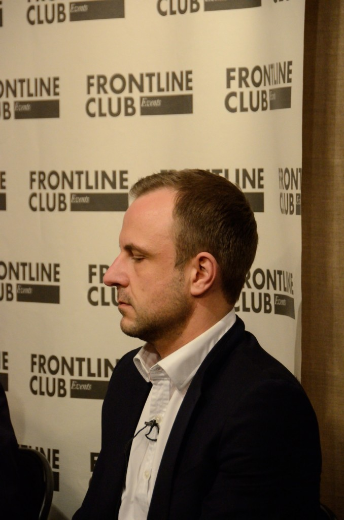 Peter Neumann at Frontline Club debate Je Suis Charlie 15 January 2015. Photo by Richard Nield