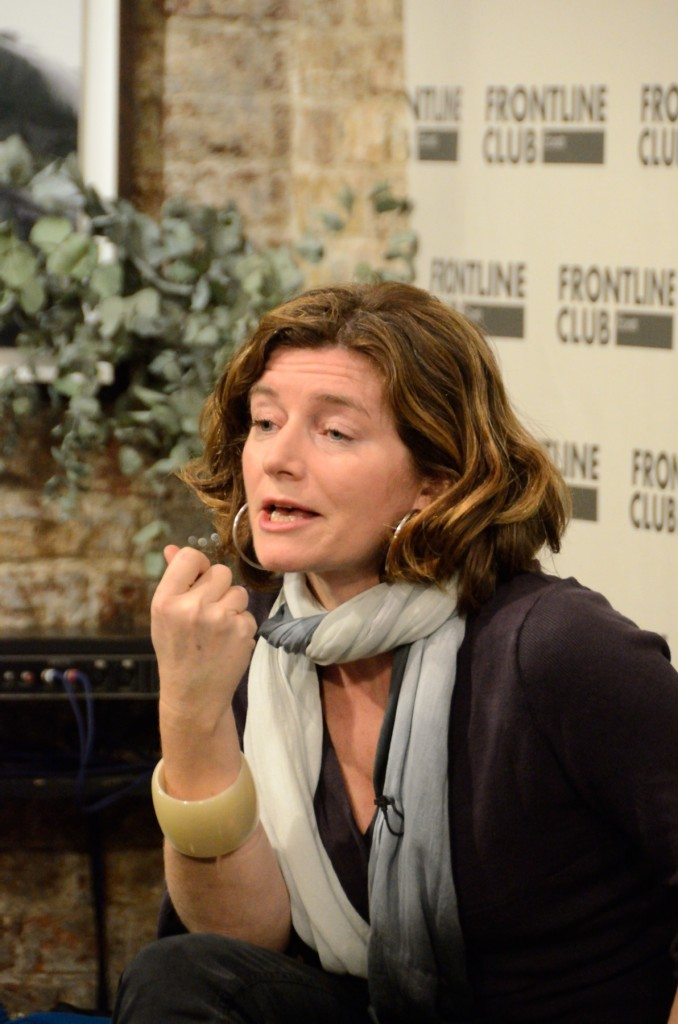 Natalie Nougayrède at Frontline Club debate Je Suis Charlie 15 January 2015. Photo by Richard Nield