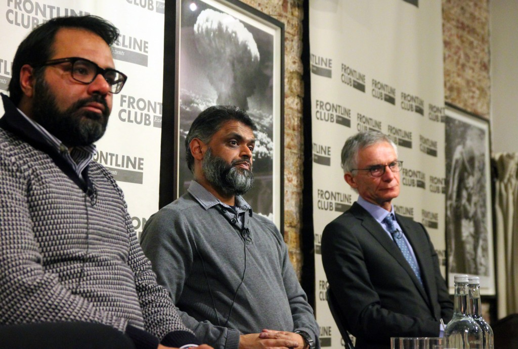 Shiraz Maher, of the International Centre for the Study of Radicalisation, King's College;  activist Moazzam Begg, and Richard Barrett, senior VP at The Soufan Group.
