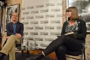 Peter Greste speaks to Sue Turton, Frontline Club, 19 February 2015. Photo Richard Nield