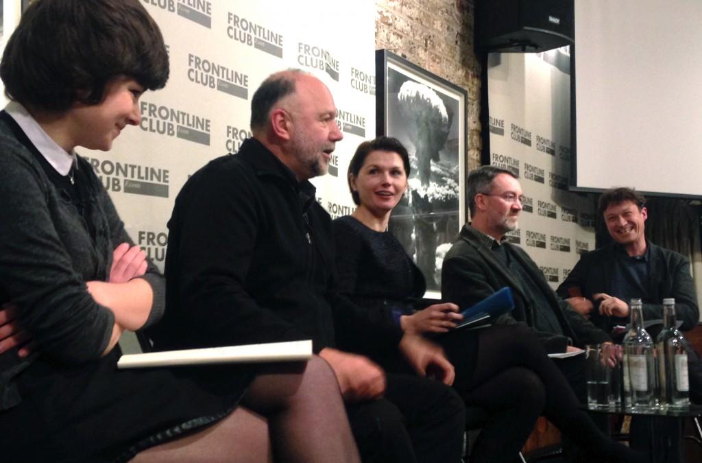 (l-r) Tonia Samsonova, Andrey Kurkov, Orysia Lutsevych, Robert Brinkley, and Gabriel Gatehouse.