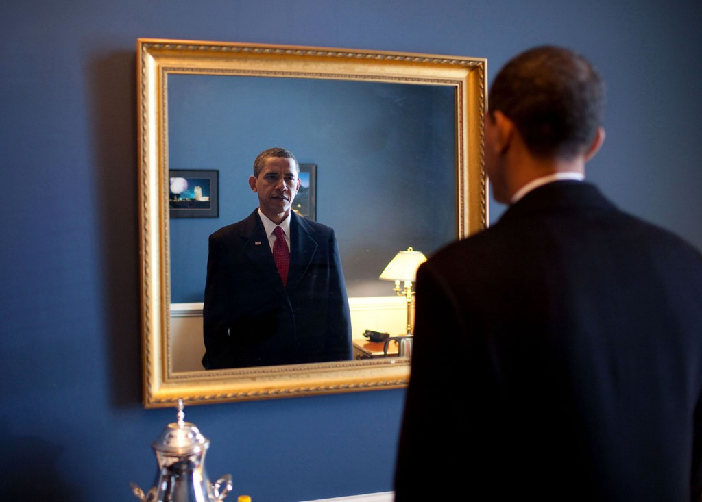 "Jan. 20, 2009 ""President-elect Barack Obama was about to walk out to take the oath of office. Backstage at the U.S. Capitol, he took one last look at his appearance in the mirror."" (Official White House photo by Pete Souza) This official White House photograph is being made available only for publication by news organizations and/or for personal use printing by the subject(s) of the photograph. The photograph may not be manipulated in any way and may not be used in commercial or political materials, advertisements, emails, products, promotions that in any way suggests approval or endorsement of the President, the First Family, or the White House."