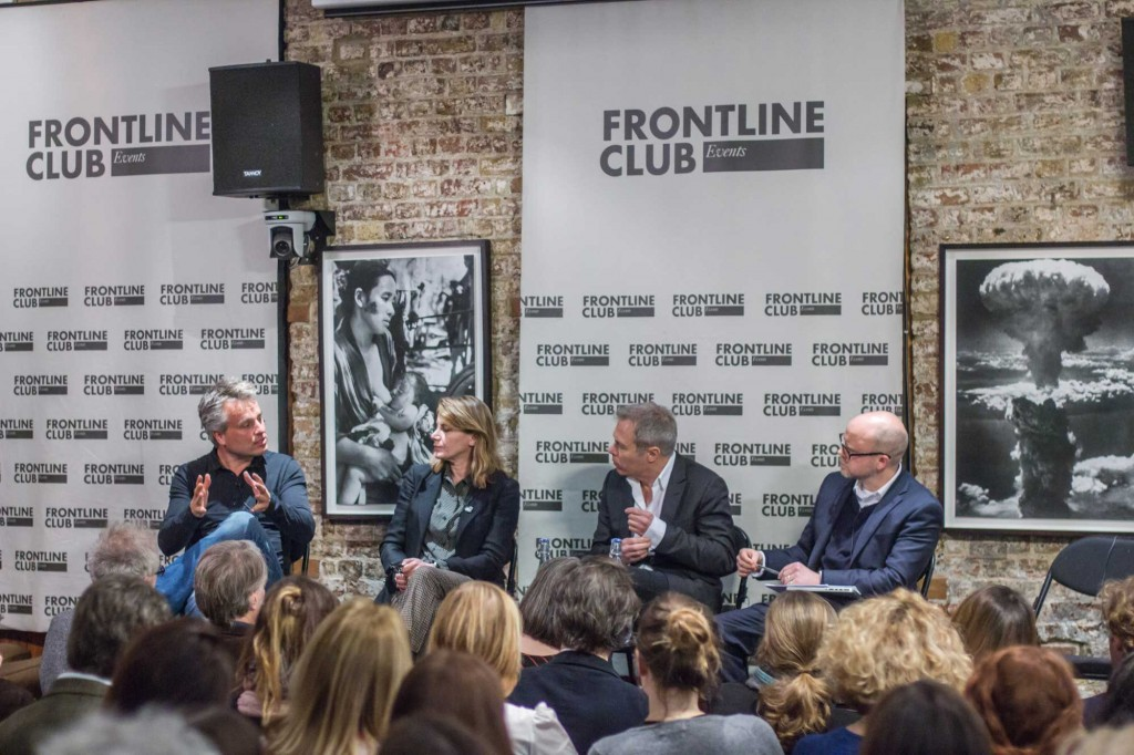Joris Luyendijk, Annalisa Piras, Gavin Hewitt and Toby Young at the Frontline Club