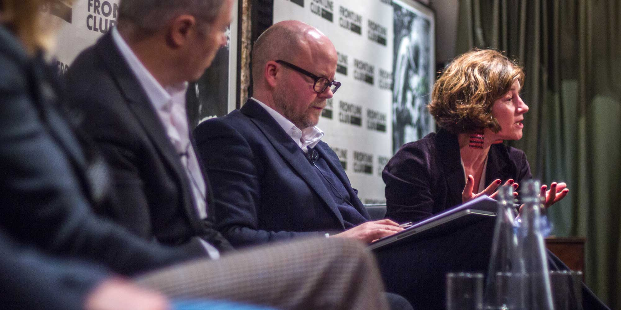 Toby Young and Natalie Nougayrède. Photo by Tolly Robinson