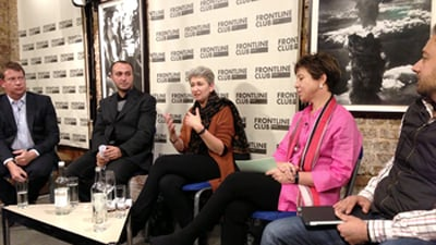 Lindsey Hilsum speaking at a Frontline Club event