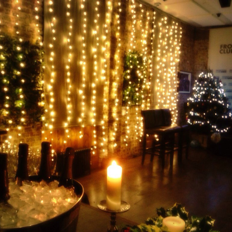 The Frontline Club Forum decorated for Christmas private hire