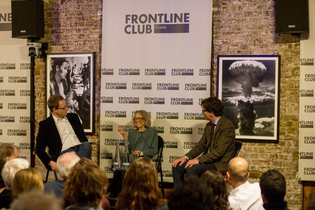 L-r: Jonathan Freedland, Norma Percy, Paul Mitchell. Photo: Tolly Robinson