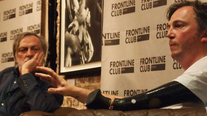 Photographer Giles Duley speaking at the Frontline Club