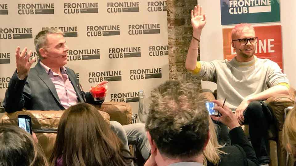 David Jukes and Chris Wylie at a Frontline Club event
